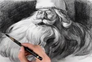 Рисуем лицо Деда Мороза
