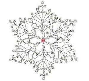 Схема вязания снежинки