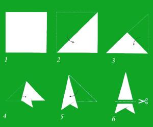 Схема сложения бумаги для снежинки