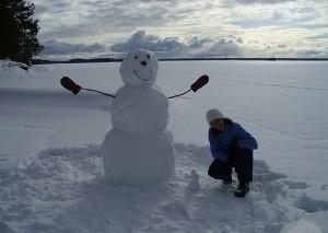 Самодельный большой снеговик
