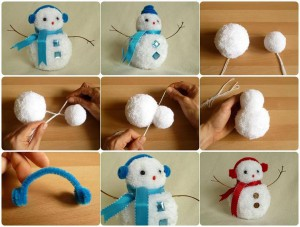 Снеговик из помпонов от шапок