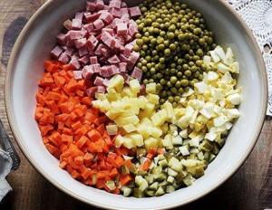 Пропорции ингредиентов в Оливье