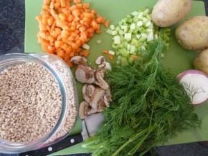 Ингредиенты для рассольника с грибами