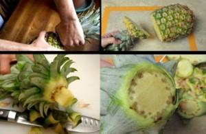 Обрезаем корешок ананаса