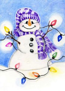 Нарисованный нос у снеговика