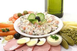 Приготовление салата Оливье